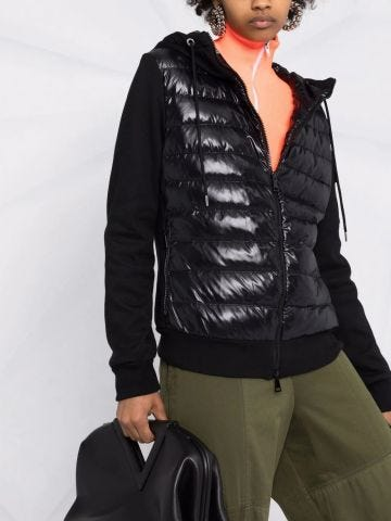 Black padded hooded cardigan with logo