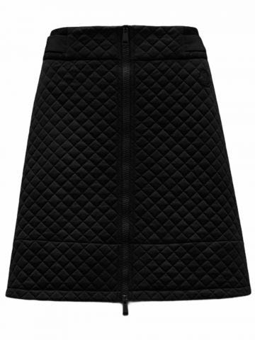 Black quilted mini skirt with zipper