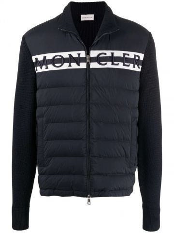 Blue logo-embroidered quilted cardigan