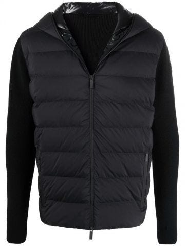 Black quilted wool cardigan