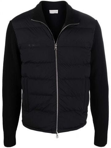 Black Ribbed Wool Cardigan