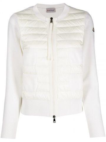 White wool and nylon padded cardigan