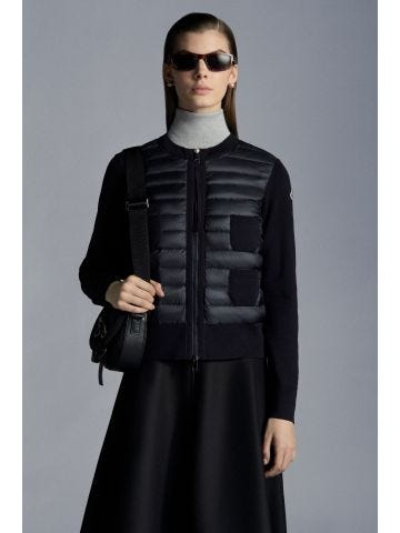 Blue wool and nylon padded cardigan