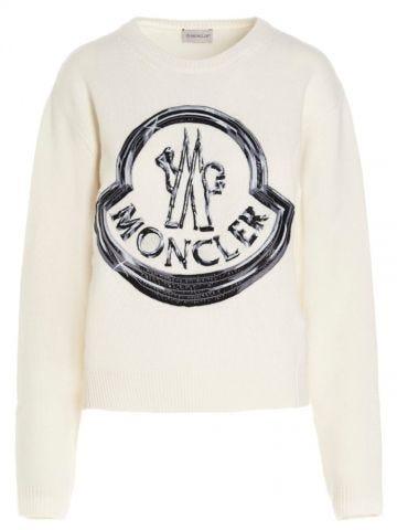 White Shiny Logo Sweater