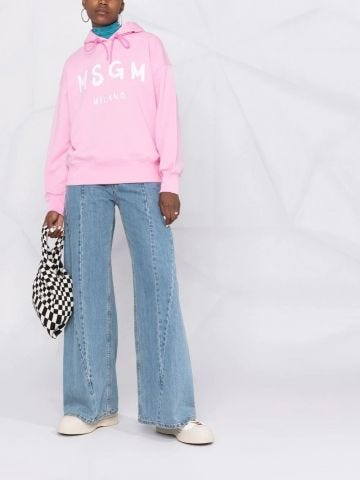 Pink logo print hooded sweatshirt
