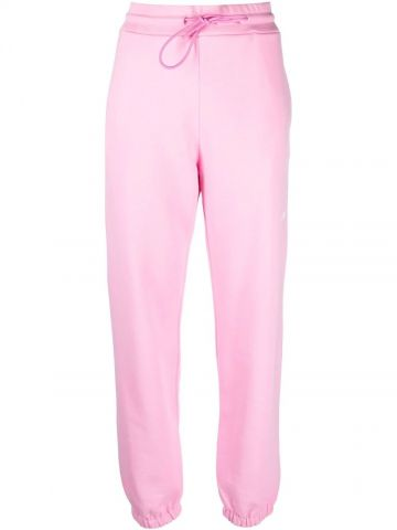 Pink logo-print cotton joggers