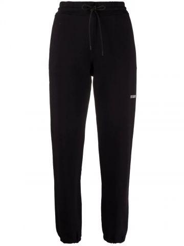 Black logo-print cotton joggers