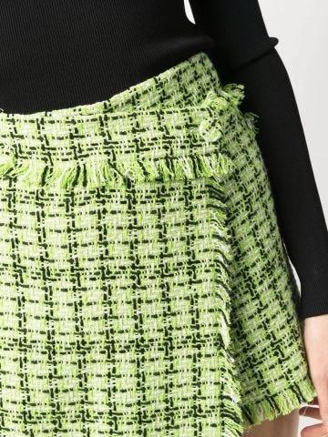 Green bouclé shorts