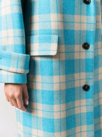Light blue and beige check pattern single-breasted coat