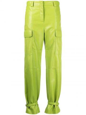 Green leather trousers with ankle ties