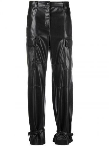 Black leather trousers with ankle ties