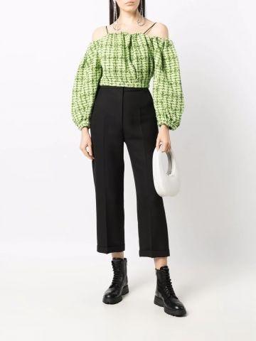 Green tweed off-shoulders blouse