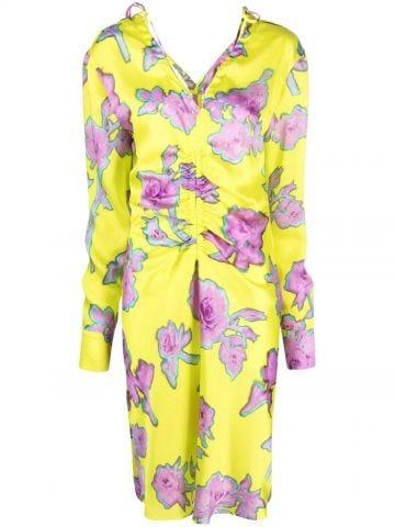 Yellow midi dress with flowers