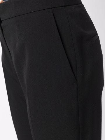 Black tailored high-waisted flared trousers