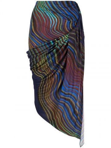 Printed draped jersey skirt