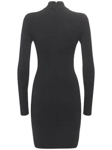 Black viscose blend knit dress