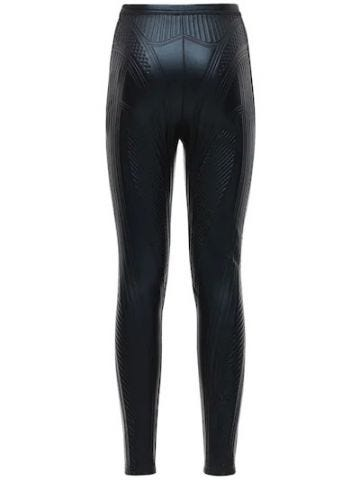 Black embossed stretch jersey leggings