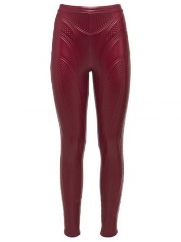 Red embossed stretch jersey leggings