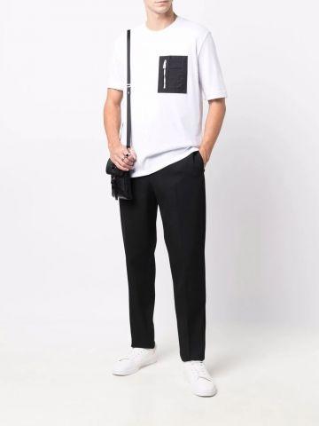 White zip-up t-shirt