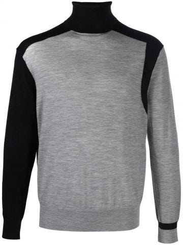 Two-tone turtleneck sweater