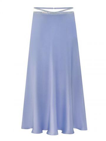 Blue silk midi skirt