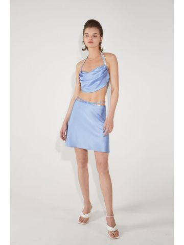 Blue silk mini skirt