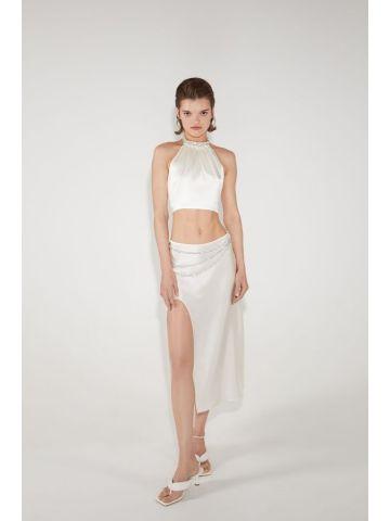 Ivory Laetitia silk skirt