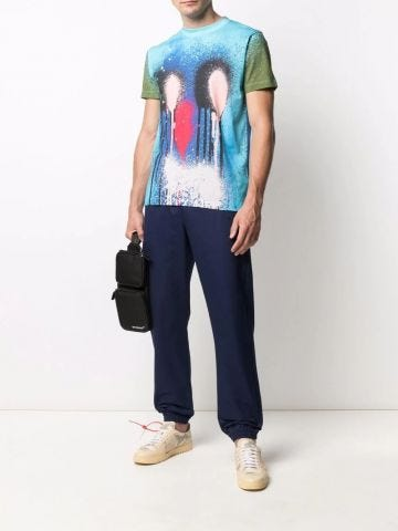 Blue trousers with elasticated waist