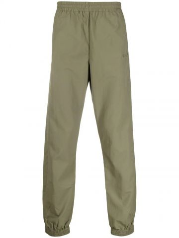 Green trousers with elasticated waist