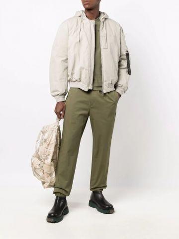 Beige jacket with detachable hood