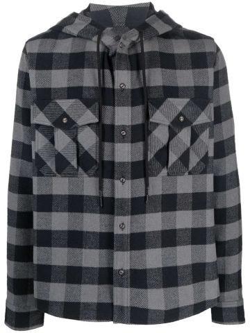 Grey Arrows-print check hoodie shirt