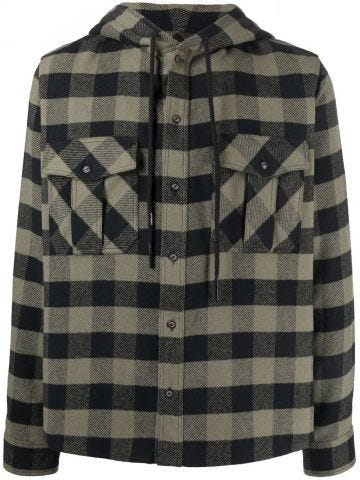 Green Arrows-print check hoodie shirt