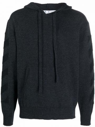 Grey diagonal stripe arrows knitted hoodie