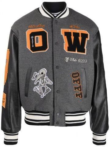 Grey and black Varsity Leather Jacket