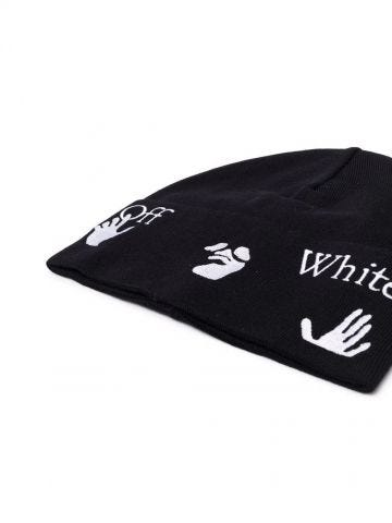 Black Hands Off ribbed-knit beanie