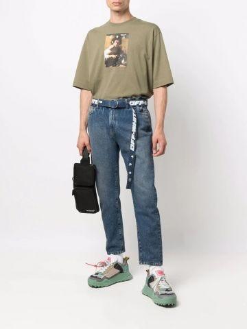 Slim low crotch Belt jeans