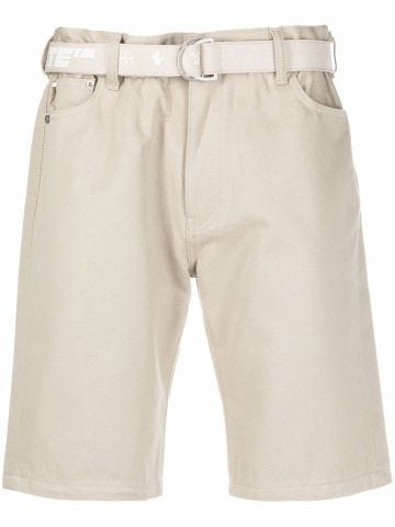 Beige low crotch belted shorts