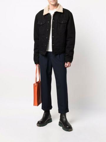 Black Eco Shearling Denim Jacket