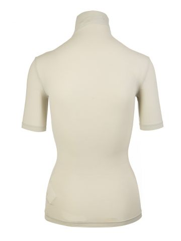 High neck beige top with OFF logo