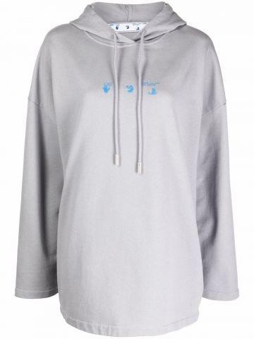 Grey Hands Off logo cotton hoodie