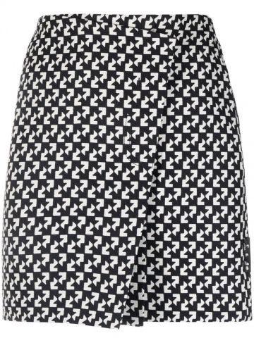 Abstract-print wrap skirt