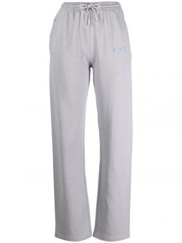 Grey Hands Off logo cotton track pants