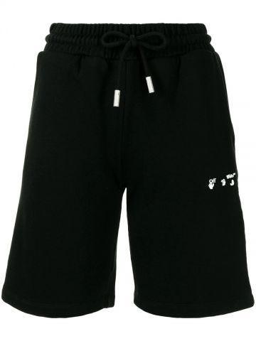 Black cotton logo-print track shorts