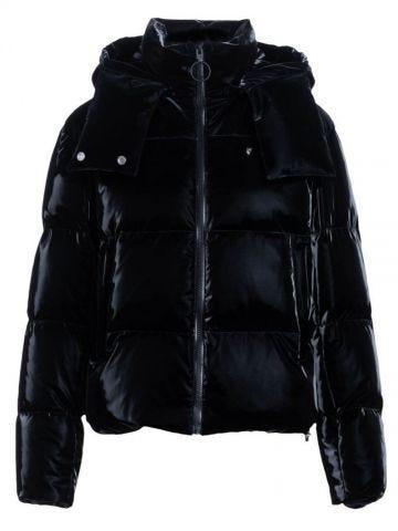 Black velvet-effect nylon down jacket