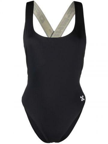 Black logo one-piece swimsuit