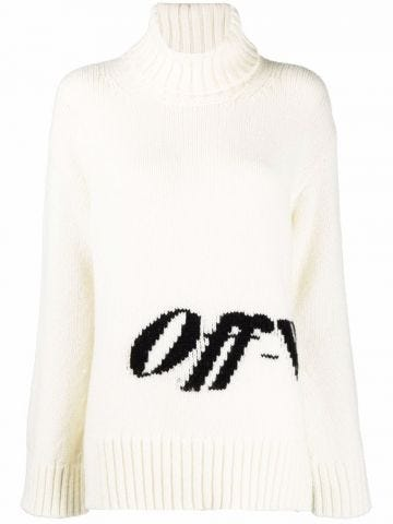 White intarsia sweater