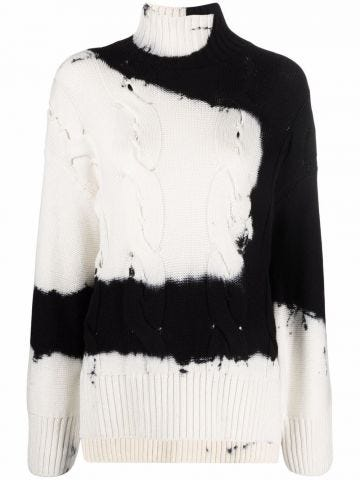 Black and white tie-dye Arrows patterned sweater