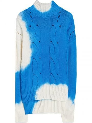 Blue and white tie-dye Arrows patterned sweater