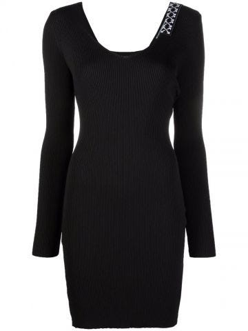 Black and white Arrows ribbed knit minidress