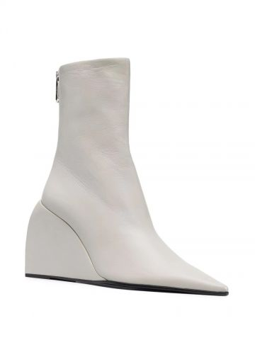 White leather wedge boots